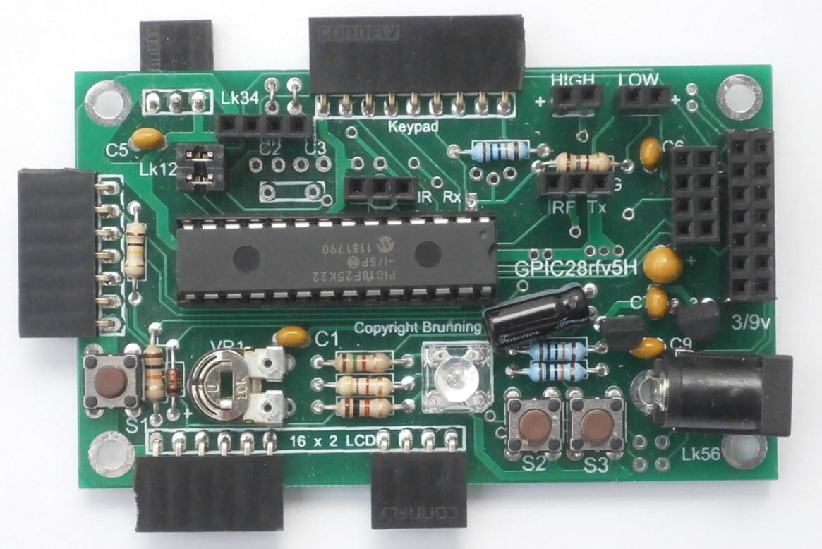 Pic Training Pir And Rf Data 2nd Edition Rf433 Rx This A Simple Module Which Operates At 433mhz The Gpic28rfv5h Is Extremely Versatile It Has Sockets So Following Modules Can Be Plugged In
